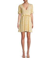 bcbgeneration women's floral puff-sleeve dress - yellow - size xs