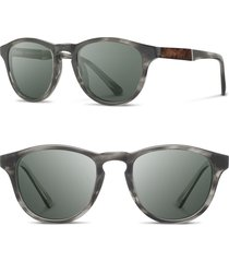 shwood 'francis' 49mm polarized sunglasses in matte grey/elm/g15p at nordstrom