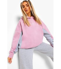 ofcl super oversized colour block hoodie, grey marl