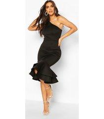 one shoulder peplum hem scuba midi dress, black