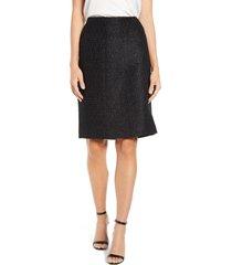 women's anne klein tweed pencil skirt, size 6 - black