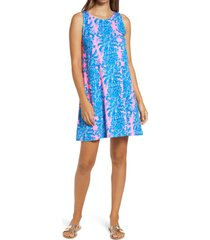 women's lilly pulitzer kristen a-line dress, size small - blue