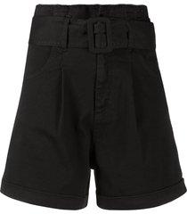 federica tosi belted wide leg shorts - black