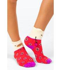 natural life® llama cozy socks - red