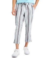 sun + stone men's walworth geo-stripe cropped drawstring pants, created for macy's