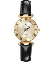 jacques du manoir ladies' black genuine leather strap with goldtone case and dial, 26mm