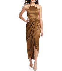 women's after six bow halter neck stretch satin gown, size 16 - brown