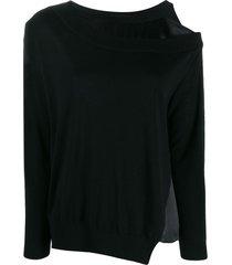 dorothee schumacher off-shoulder asymmetric sweater - black