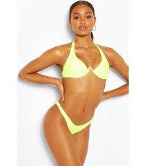 neon underwire plunge front bikini top