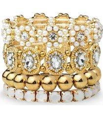 statement four piece stone and metal bracelet sets