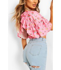 ditsy floral ruffle sleeve tie neck top, pink