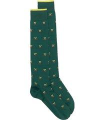marcoliani cherry embroidered socks - green