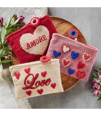 sundance catalog women's heartful pouch in red