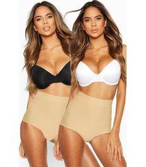 2 corrigerende onderbroeken met hoge taille, nude