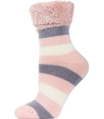 multi stripe plush women's cabin socks