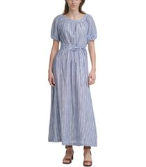 calvin klein cotton puff-sleeve maxi dress