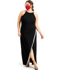 bcx trendy plus size embellished asymmetrical halter gown
