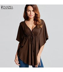 zanzea 2018 mujeres del verano blusas camisas con cuello en v manga del batwing de las señoras de gran tamaño tes de las tapas flojas ocasionales blusas femininas más el tamaño de café -marrón
