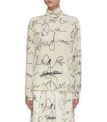 scribble print button back blouse