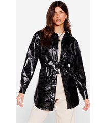 womens croc print longline faux leather jacket - black