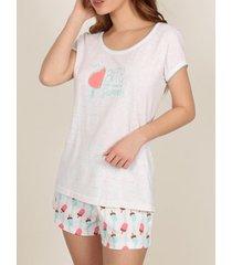pyjama's / nachthemden admas pyjama kort t-shirt summer bites wit