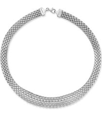 """italian gold wide mesh graduated 18"""" statement necklace in 14k white gold"""