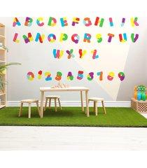adesivo de parede alfabeto e nãºmeros quebra cabeã§a 36un - multicolorido - dafiti