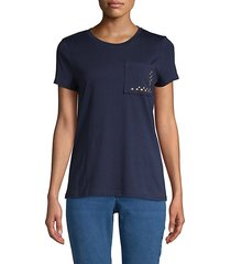 studded cotton blend pocket tee