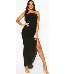 chiffon draped corset maxi dress, black