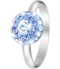 anello in argento 925 rodiato e cristalli celesti per donna