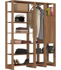 guarda roupa closet 3 peças 1 cabideiro 1 porta c/ 2 prateleiras e 12 nichos yes nova mobile