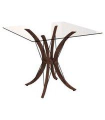mesa de jantar quadrada com tampo de vidro miami incolor e café 90 cm