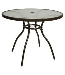 mesa de alumínio redonda sauípe marrom 90cm