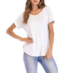 cuffed sleeve basic t-shirt