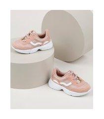 tênis infantil molekinha sneaker jogging com recortes rosa