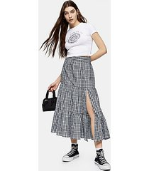 blue check tiered split midi skirt - blue