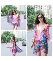 woman large chiffon poncho tunic shawl scarf paisley print beachwear female