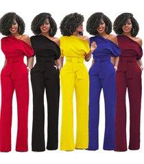 one shoulder elegant wide leg jumpsuits playsuits women rompers short sleeve