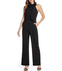women's vince camuto kors bow neck stretch crepe jumpsuit, size 8 - black