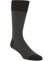 men's cole haan dog bone texture crew socks, size one size - black