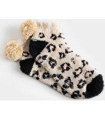 mia cozy leopard socks - taupe