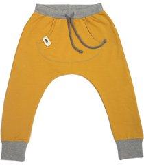 spodnie baggy musztardowe