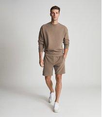 reiss alistar - oversized garment dye sweatshirt in taupe, mens, size xxl