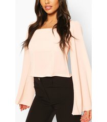 wide sleeve square neck blouse, nude