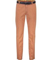 meyer broek bonn flatfront met riem oranje
