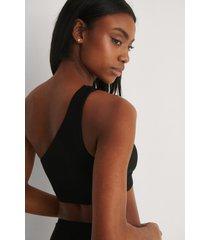 na-kd swimwear recycled bikinitopp med en axel - black