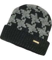 roccobarocco designer women's hats, langos black & white beanie w/folded edge