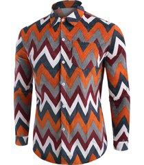 button up zigzag pattern corduroy shirt