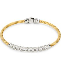 stainless steel, 14k yellow gold & white topaz cable bracelet