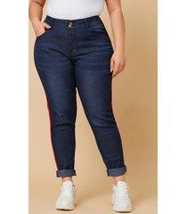 plus tamaño botón azul diseño jeans